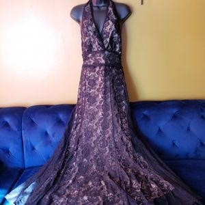 Black lace over nude lined mermaid halter dress